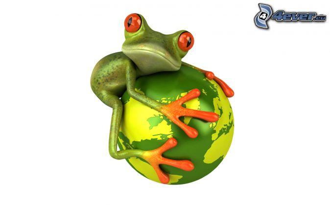 frog, ball, planet Earth