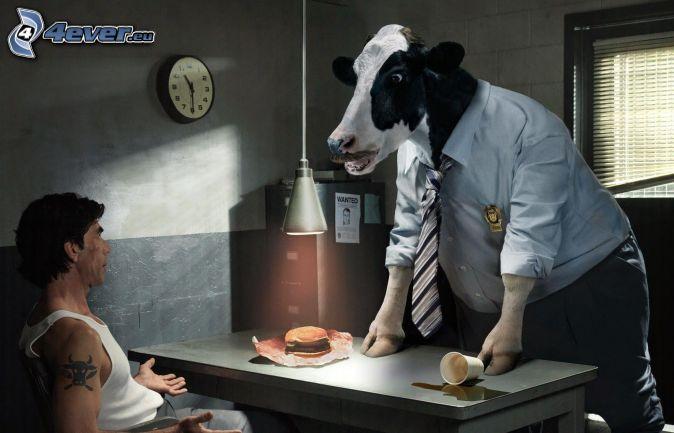 cow, suit, man