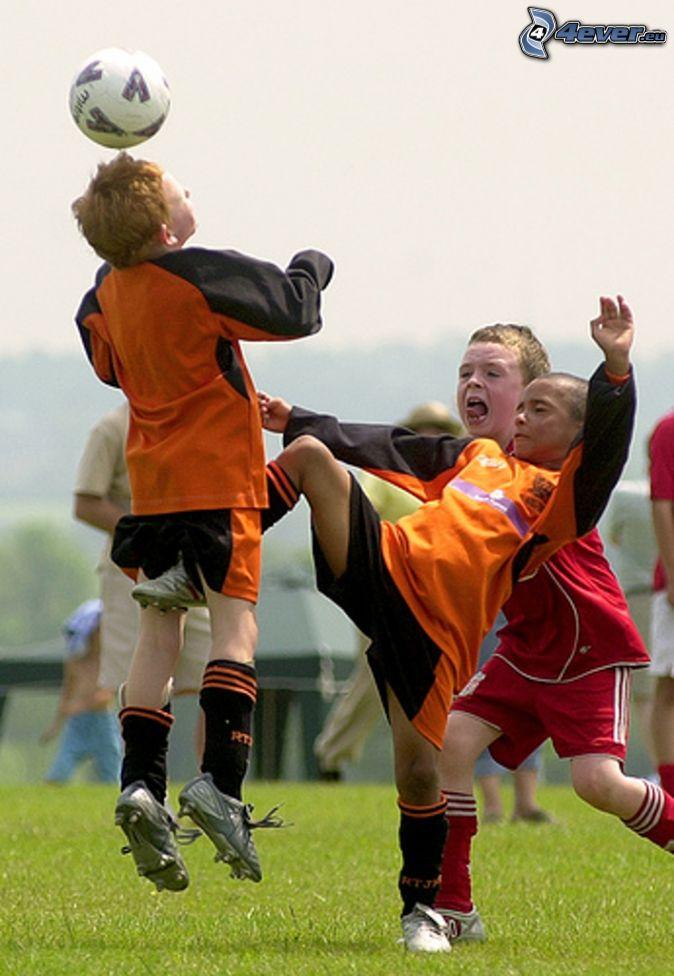 kick between the legs, footballers, boys