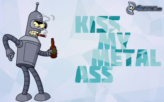 robot, cigars, smoke, beer, text, Futurama