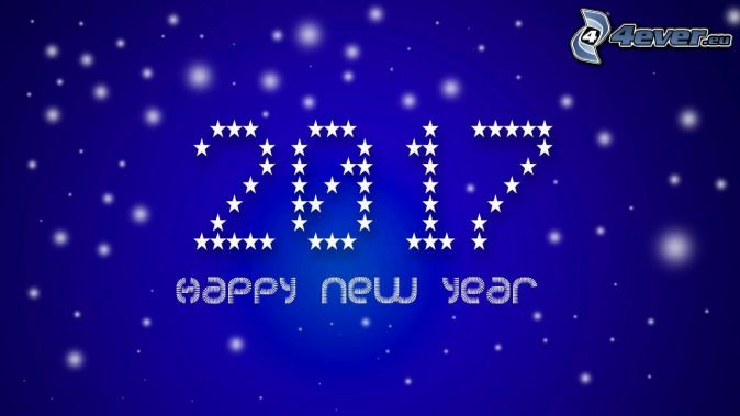 2017, happy new year, blue background