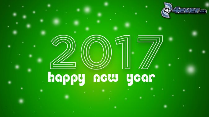 2017, happy new year, green background