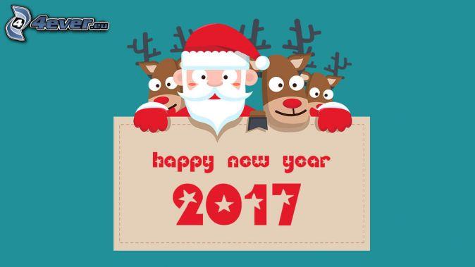 2017, happy new year, Santa Claus, reindeers