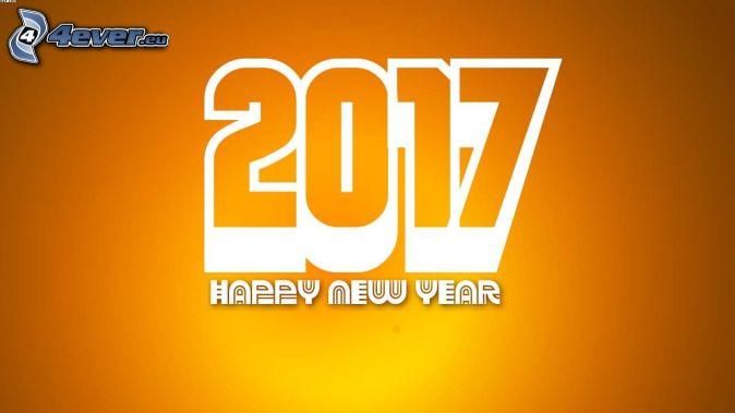 2017, happy new year, yellow background