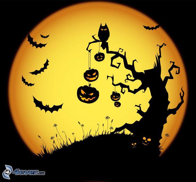 Halloween, haunted tree, bats