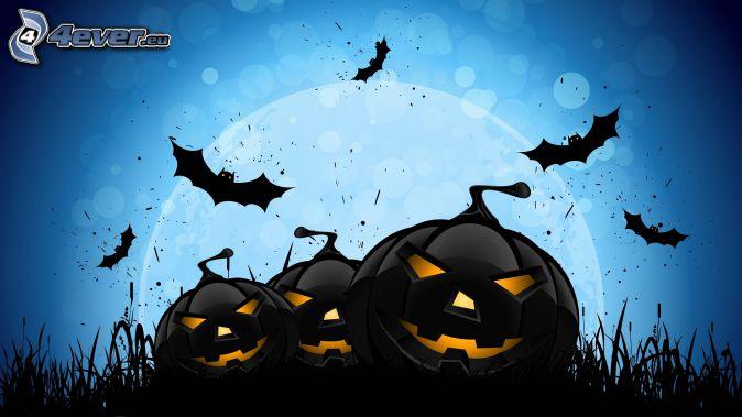 halloween pumpkins, bats, blue background, cartoon