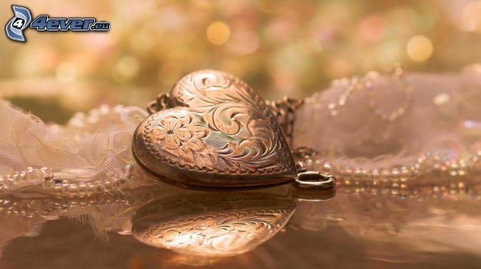 pendant, heart, reflection