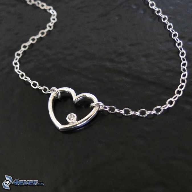 silver pendant, heart, necklace