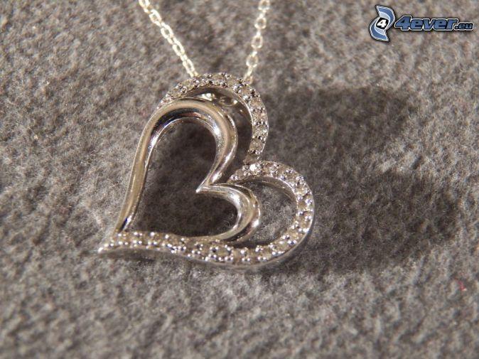 silver pendant, hearts
