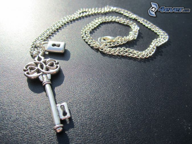 silver pendant, key, necklace