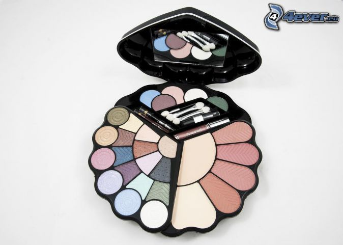 make-up, brushes, mirror