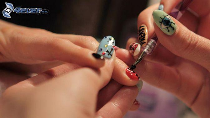 painting nails, painted nails