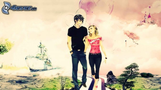 cartoon couple, castle, ship