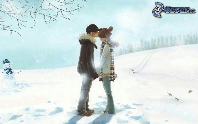 cartoon couple, kiss, snowman, winter