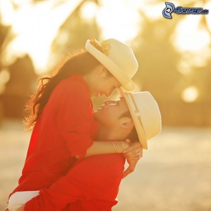 couple, hug, hats
