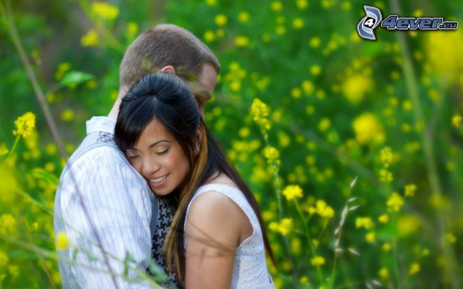 couple, hug, smile, blades of grass, rapeseed