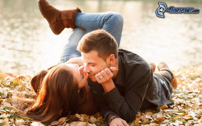 couple, mouth, autumn leaves