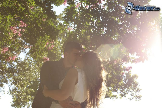 couple, mouth, flowering tree, sunbeams