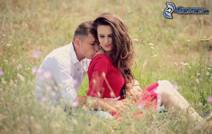 couple, mouth, meadow