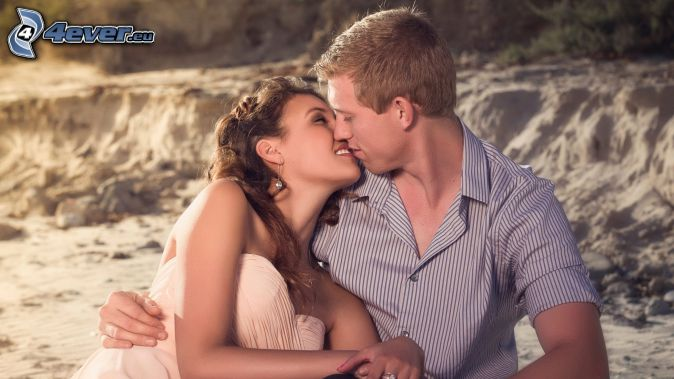 couple, mouth, sand, smile