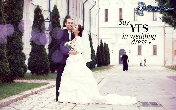 newlywed, groom, bride, text
