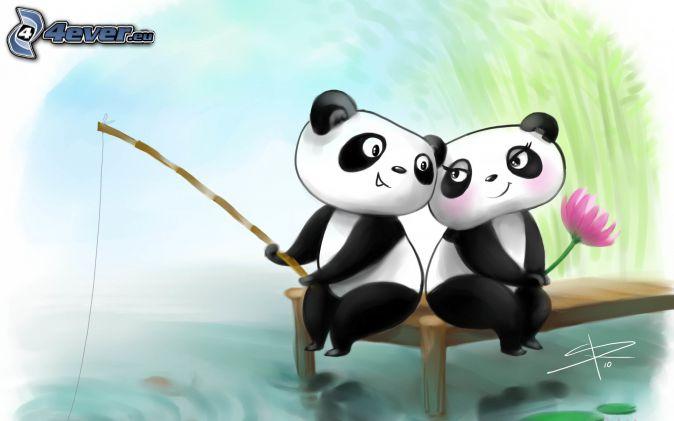 pandas, couple, fishing, water lilies, cartoon