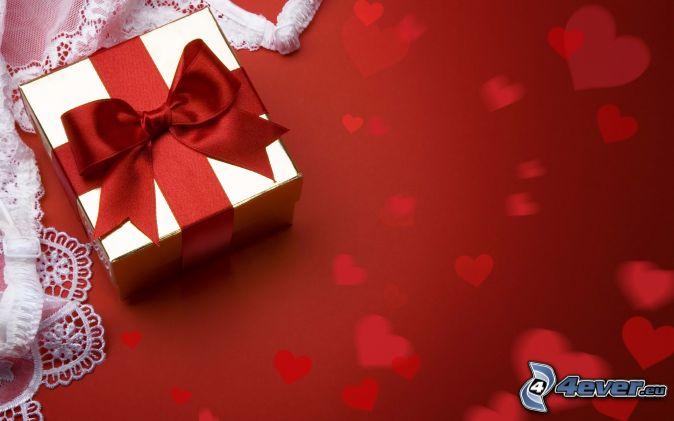 gift, hearts, ribbon