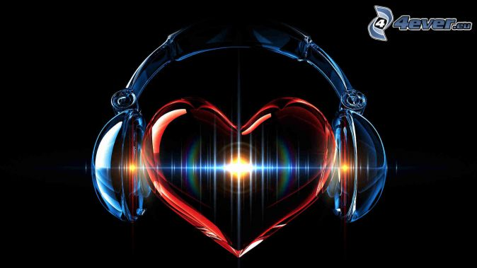 heart, headphones, black background
