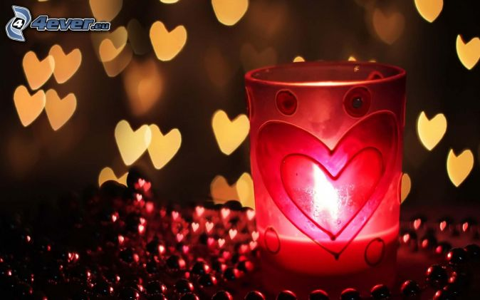 candlestick, hearts, red balls