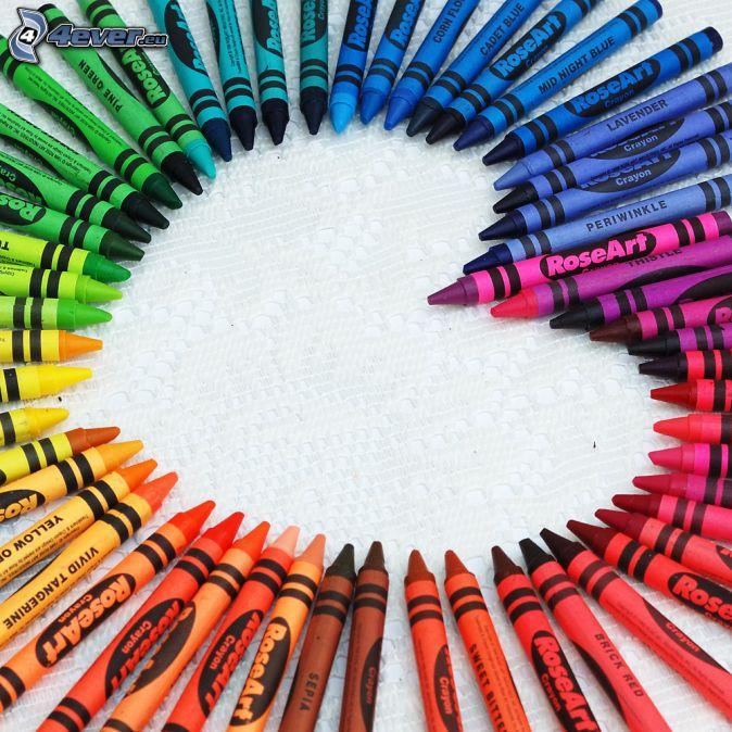 crayons, heart