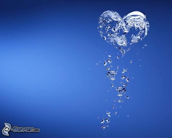 heart, water, splash, blue background