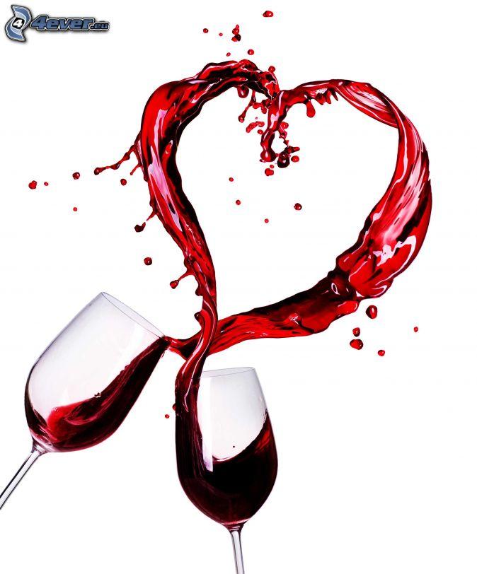 heart, wine, glasses