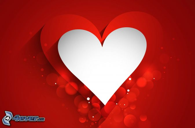 hearts, circles, red background