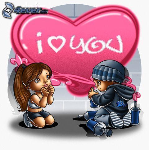 I <3 U, heart, graffiti, love, cartoon couple