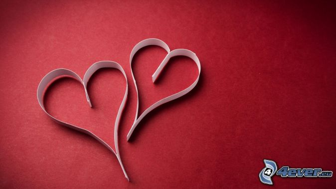 paper heart, red background