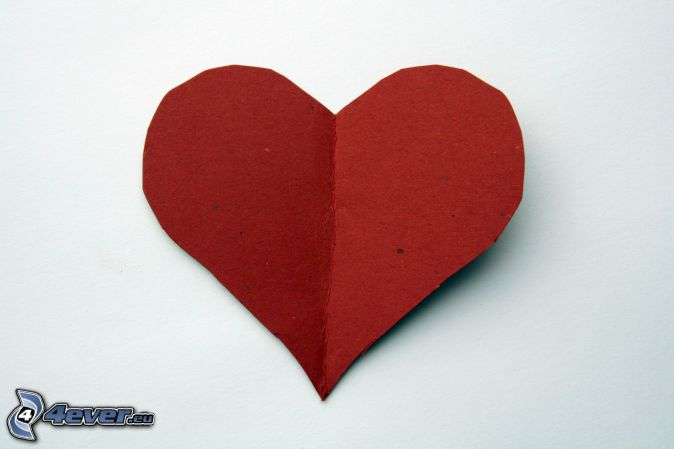 paper heart, red heart