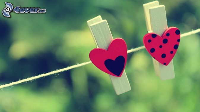 pegs on the line, hearts, dots