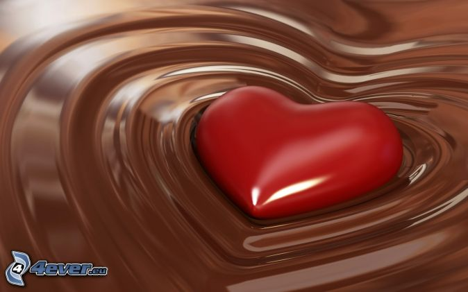 red heart, chocolate