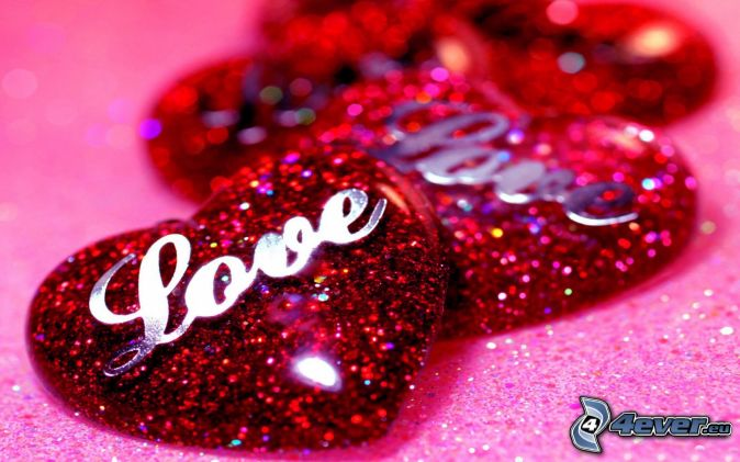 red hearts, love, glitter
