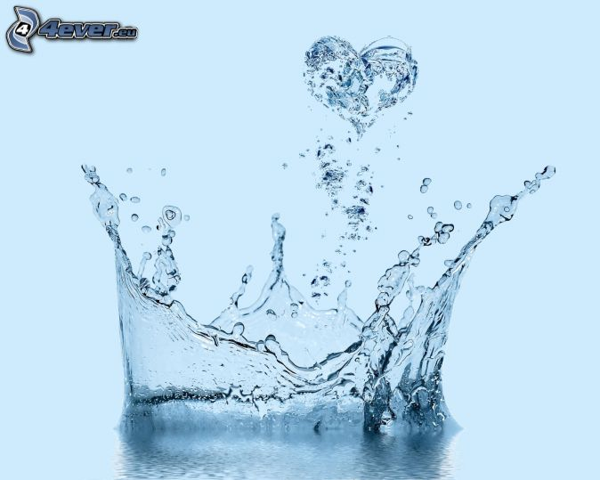 splash, heart, water