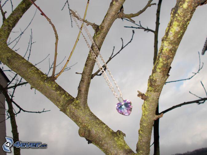tree, pendant, heart