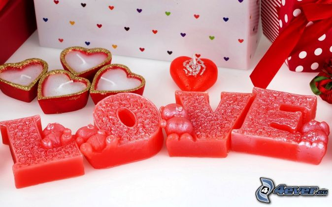 love, heart candles, gifts