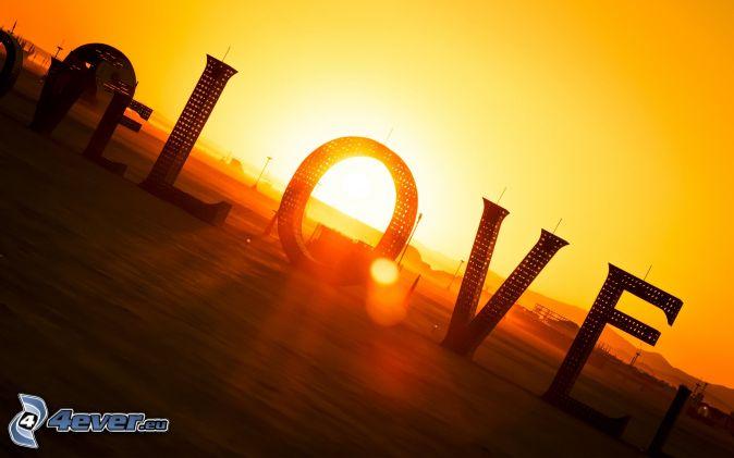 love, sunset, yellow sky
