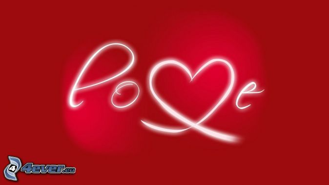 love, white lines, red background
