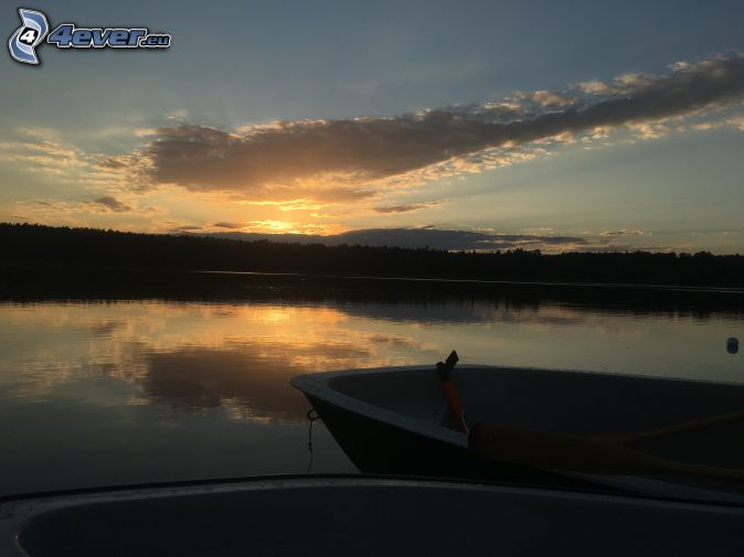 lake, boat, sunset in the forest, clouds