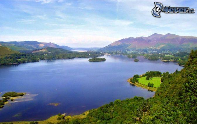 lake, greenery, hills