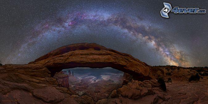 Mesa Arch, natural stone gate, starry sky, Milky Way, night sky