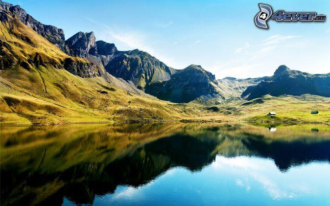 Alps, rocky mountains, mountain lake, reflection