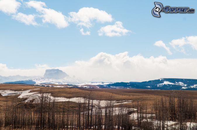 Chief Mountain, mountain, clouds