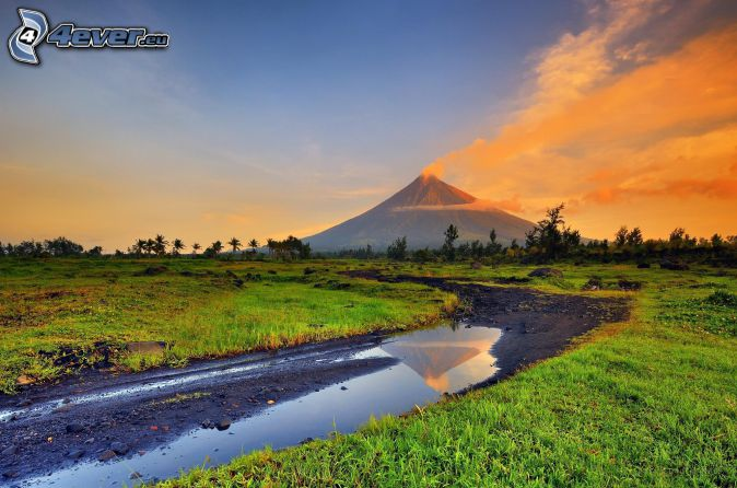 Mount Mayon, fen, field path, orange clouds, meadow, Philippines